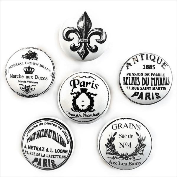 French Theme Ceramic Cabinet Knobs - Set of 6