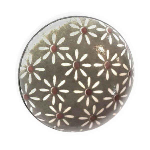 Grey Daisy Ceramic Cabinet Knobs - Set of 6