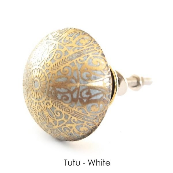 The Tutu Knob - White from the MKN Range of Panel Beaten Brass and Copper Cabinet Knobs