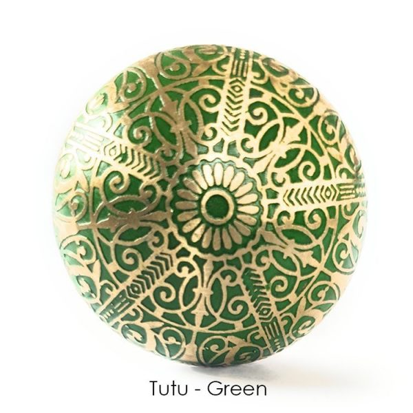 The Tutu Knob - Green from the MKN Range of Panel Beaten Brass and Copper Cabinet Knobs
