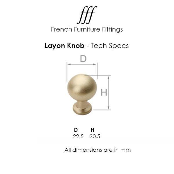 Layon Cabinet Knob in Matt Brushed Brass Finish