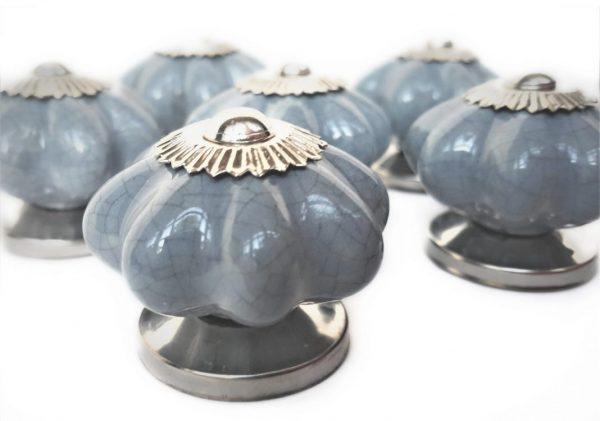 Set of 6 Grey Pumpkin Ceramic Cabinet Knobs - 40mm