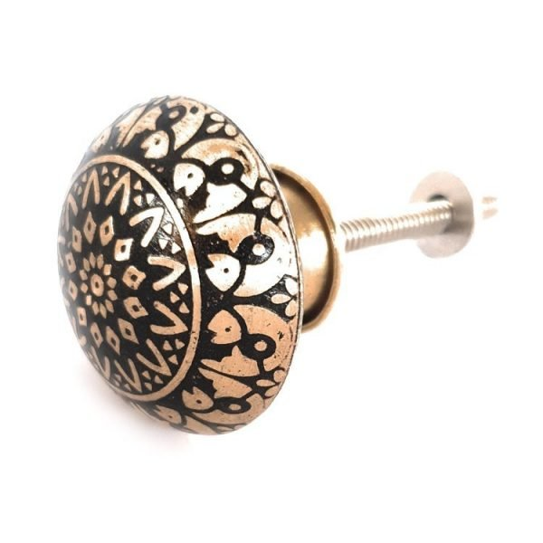 The Fish Knob - Black from the MKN Range of Panel Beaten Brass and Copper Cabinet Knobs