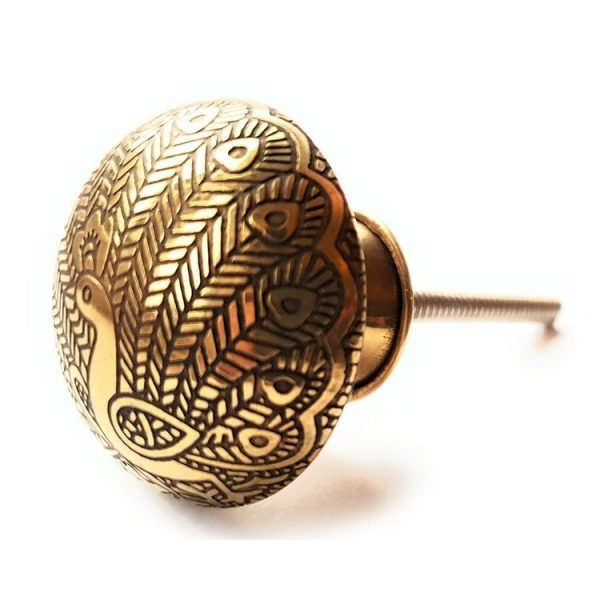 The Plain Peacock from the MKN Range of Panel Beaten Brass and Copper Cabinet Knobs