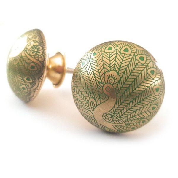 The Green Peacock from the MKN Range of Panel Beaten Brass and Copper Cabinet Knobs