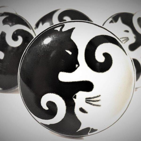 Set of 6 Yin Yang Cat Ceramic Cupboard Knobs