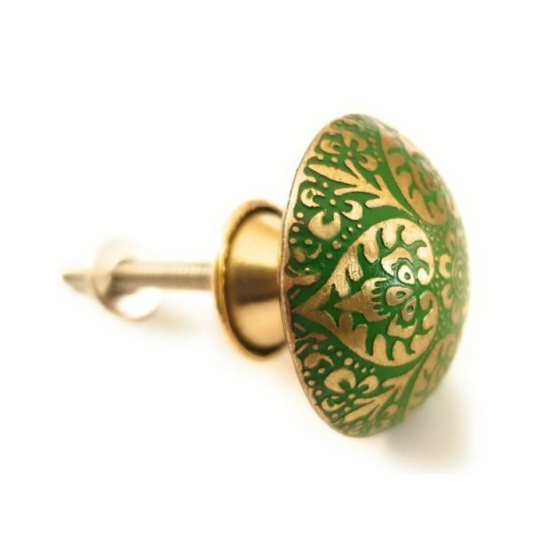 The Tate Knob - Green from the MKN Range of Panel Beaten Brass and Copper Cabinet Knobs