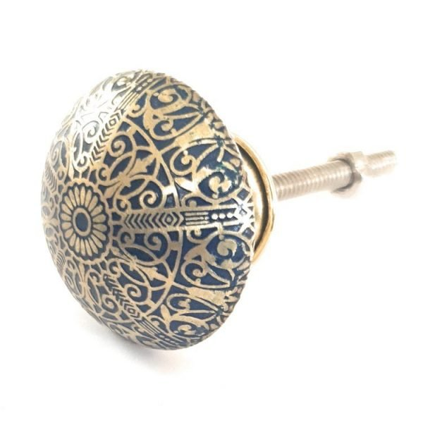 The Tutu Knob - Blue from the MKN Range of Panel Beaten Brass and Copper Cabinet Knobs