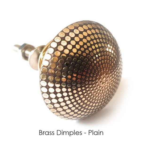 The Brass Dimples Knob from the MKN Range of Panel Beaten Brass and Copper Cabinet Knobs