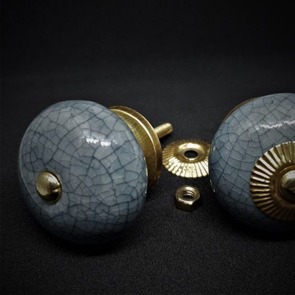 Set of 6 Grey Boule Ceramic Cabinet Knobs - 40mm