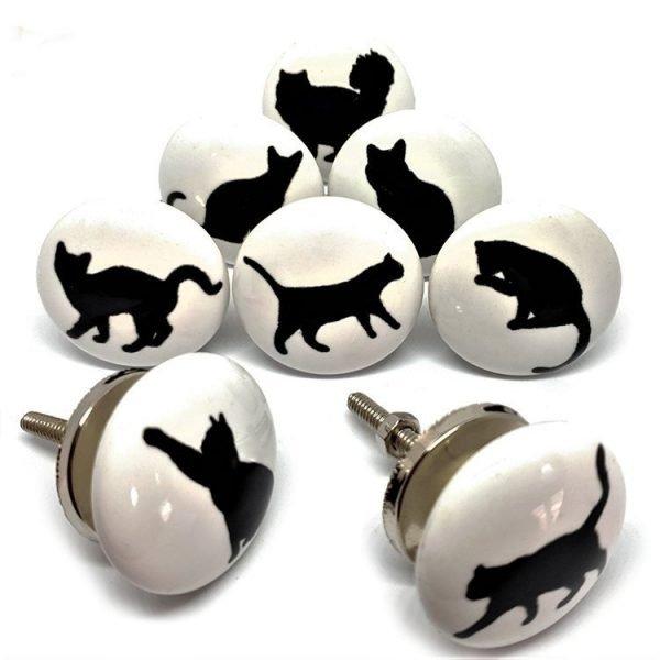 Set of 8 Cat Silhouette Ceramic Knobs