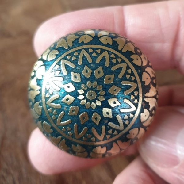 The Fish Knob - Turquoise from the MKN Range of Panel Beaten Brass and Copper Cabinet Knobs