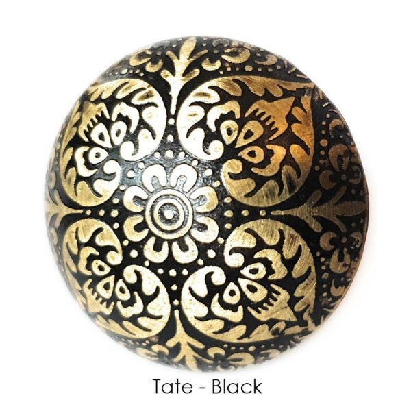 The Tate Knob - Black from the MKN Range of Panel Beaten Brass and Copper Cabinet Knobs