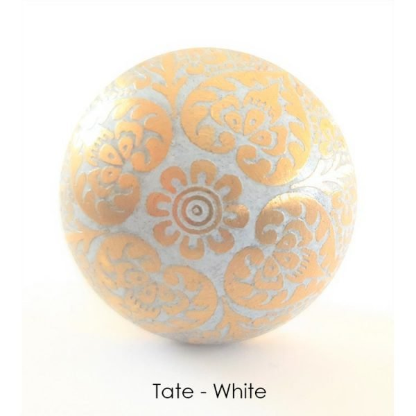 The Tate Knob - White from the MKN Range of Panel Beaten Brass and Copper Cabinet Knobs