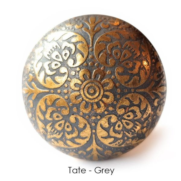 The Tate Knob - Grey from the MKN Range of Panel Beaten Brass and Copper Cabinet Knobs